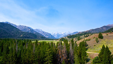 View of a distant meadow in the Rocky Mountains of Wyoming.