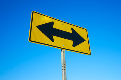 Road Sign Two Black Arrows