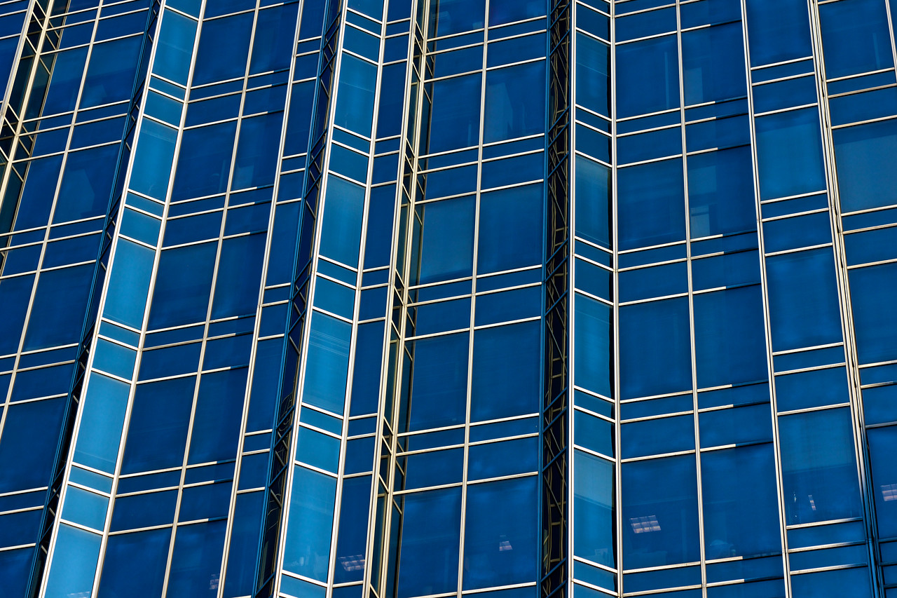 Horizontal of Glass and Steel Wall