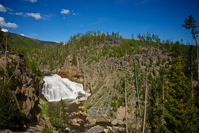 The water Gibbon Falls roars through the gorge in Yellowstone National Park.