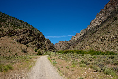A gravel road winds into the mountains of northern Nevada.