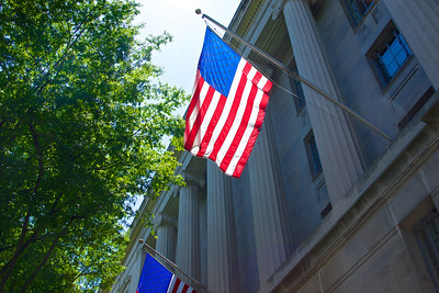 US Flag Hanging on Department of Justice