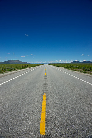 Highway in Idaho leads straight into the distance.
