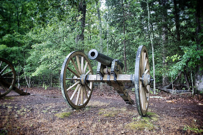 Cannon guards the woodline at Shiloh National Military Park.