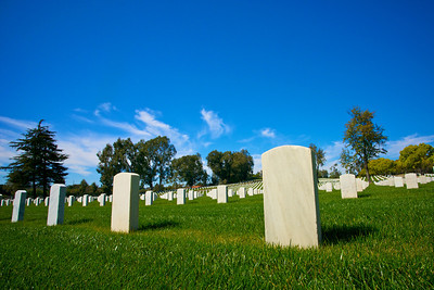Close up Tombstones in the National Cemetery